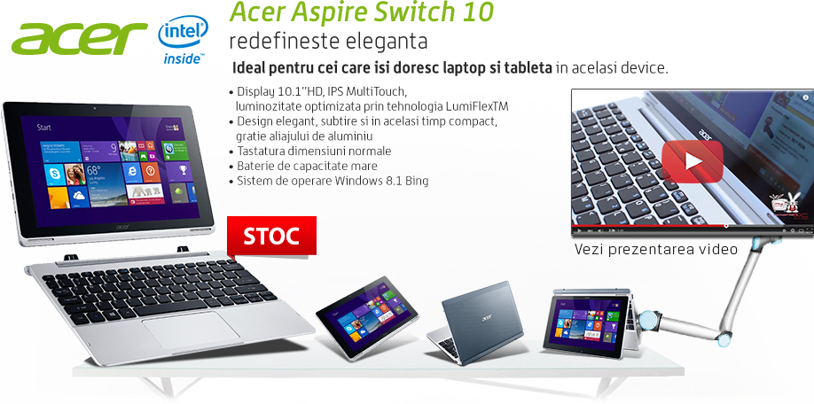 Redefineste eleganta cu Acer Aspire Switch 10