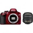 Nikon D3200 rosu + obiectiv AF-S DX NIKKOR 18-55mm f/3.5-5.6G VR II
