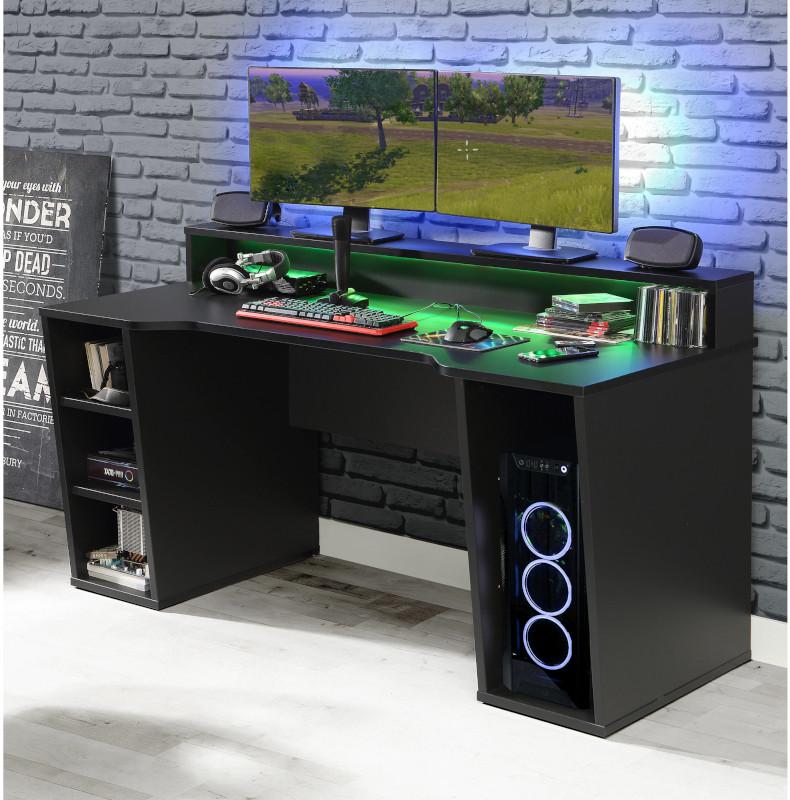 Birou Gaming Kring Gaming , 160x91x72 cm, Black, include LED