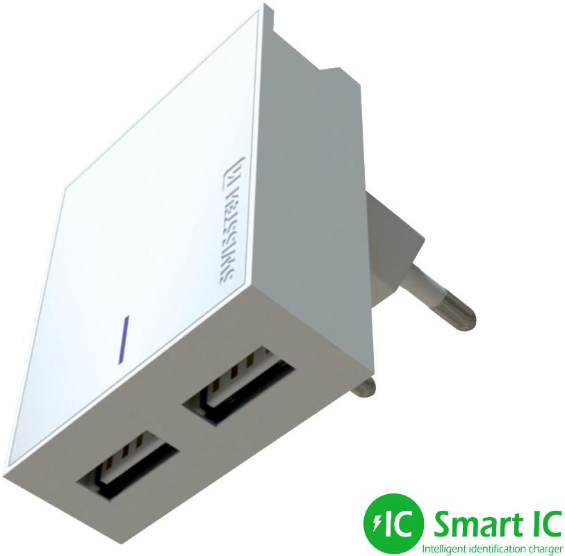 Incarcator retea GSM Swissten Slim, 2x USB, 3A, White cu tehnologia Smart IC