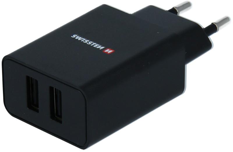Incarcator retea GSM Swissten Slim, 2x USB, 2.1A, Black cu tehnologia Smart IC